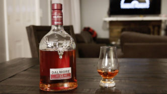 The Dalmore Whisky bottle and glass