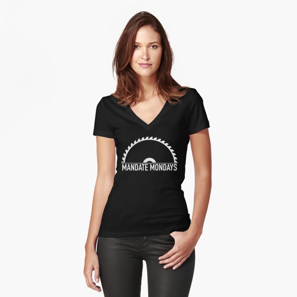 womens vneck t-shirt mandate mondays saw blade